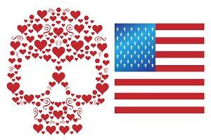 Skull icon with USA FLAG metallic