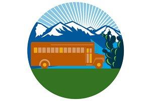 School Bus Vintage Cactus Mountains