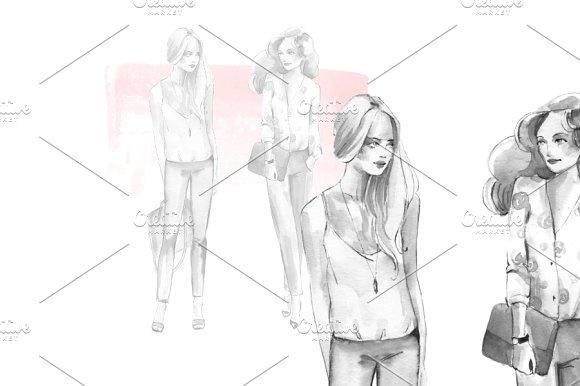 Fashion girls. Watercolor sketch - Illustrations