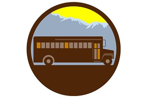 School Bus Vintage Mountains Circle