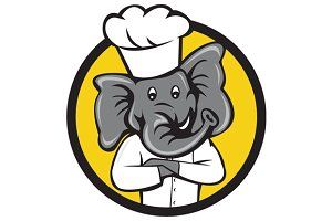 Chef Elephant Arms Crossed Circle