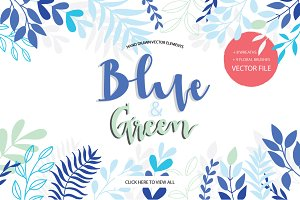 BLUE&GREEN Hand drawn vector set
