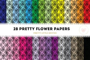 Black Floral Digital Paper