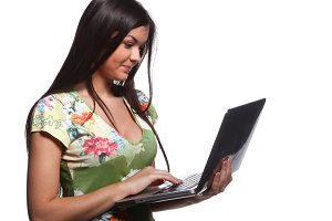 college girl holding laptop
