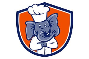 Elephant Chef Arms Crossed Crest