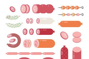 Delicatessen Sausage icons vector