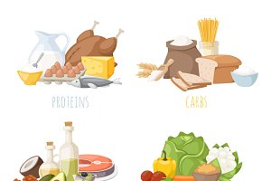 Healthy nutrition proteins vector