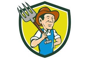 Farmer Holding Pitchfork Shoulder