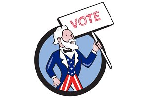 Uncle Sam Holding Placard Vote