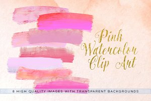 Pink Watercolor brush strokes