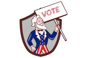 Uncle Sam American Placard Vote