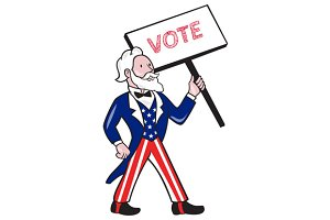 Uncle Sam Placard Vote Standing