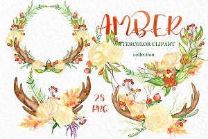 Amber. Fall watercolor clipart