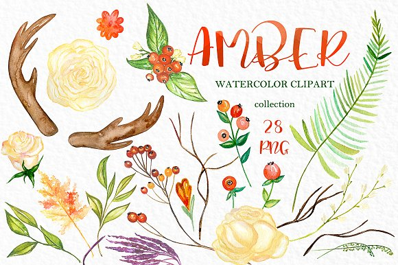 Amber. Fall watercolor clipart - Illustrations