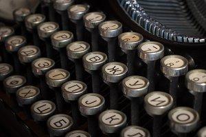Vintage Cyrillic typewriter keys
