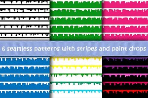 6 Stripes and paint drops Patterns