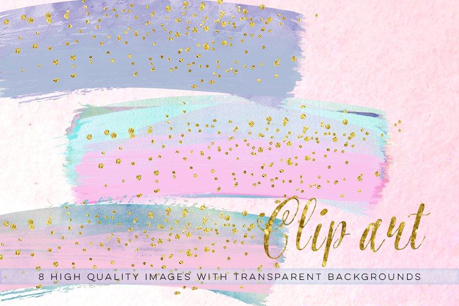 Confetti pastel. Brush clip art