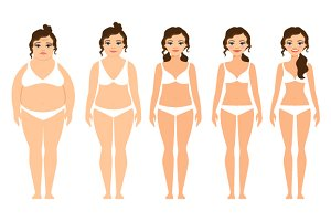 Woman before and after diet