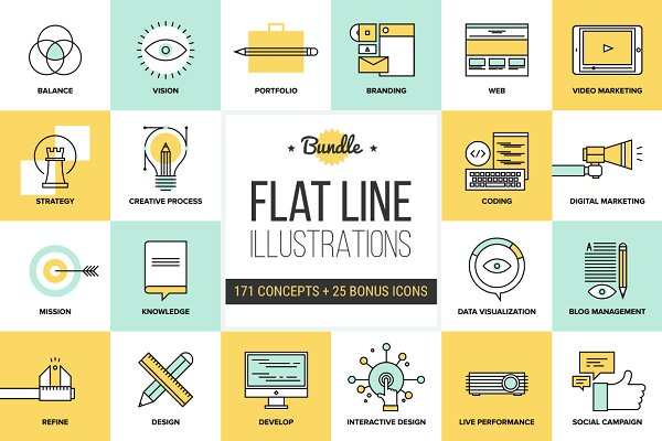 Big Pack of Flat Line Illustrations