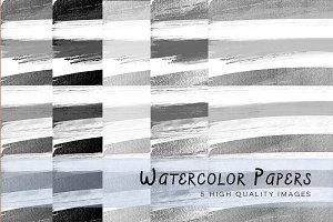 Black and White Watercolour Stripes