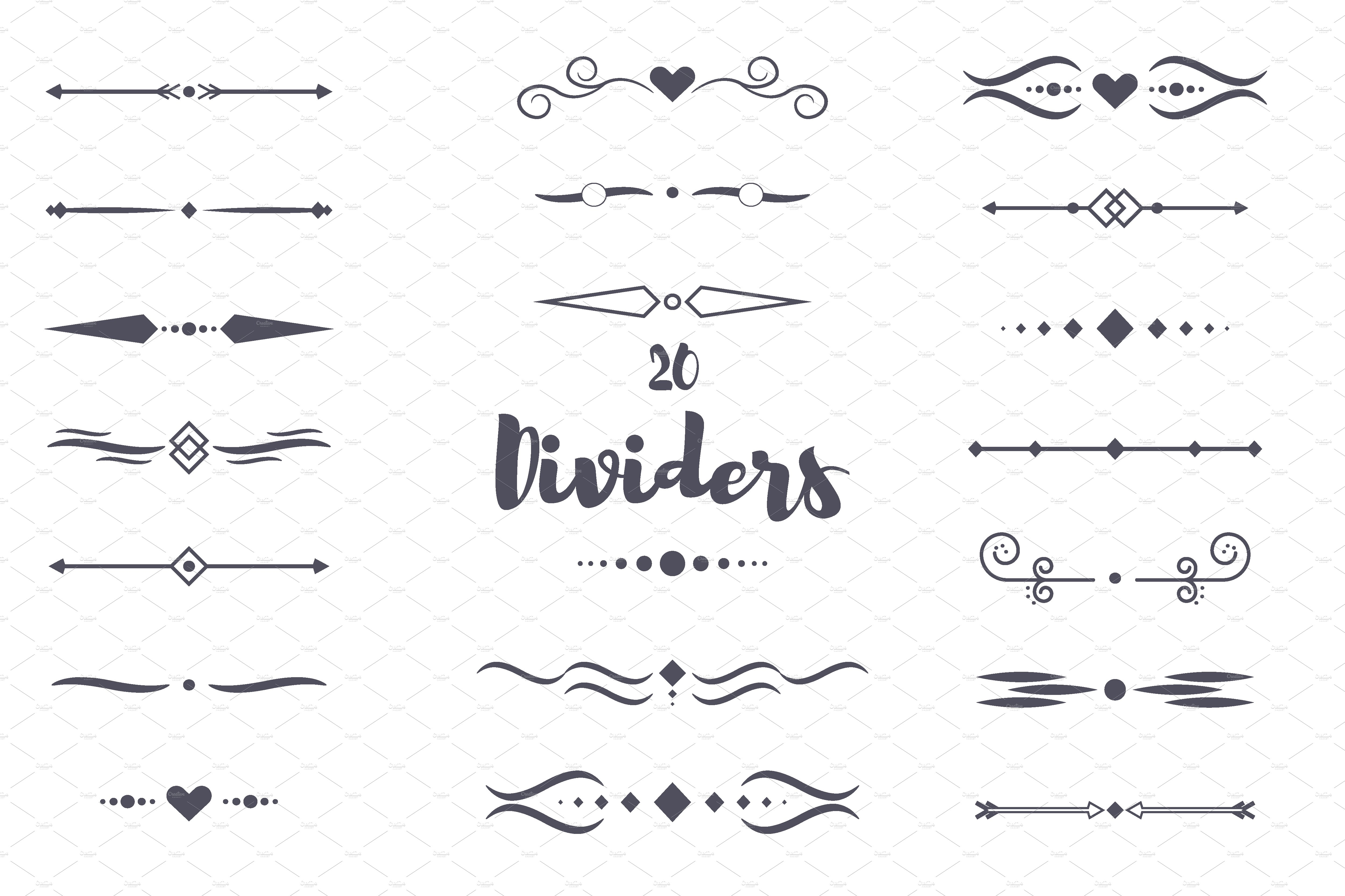 Drawing Lines For Calligraphy : Dividers calligraphic style illustrations creative