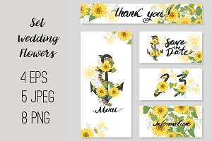 №198 Set wedding sunflowers