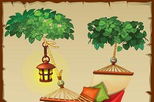 Comfortable hammock, tree and lamp