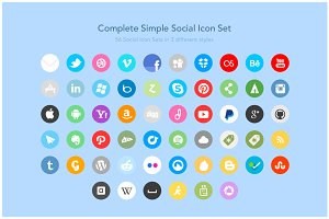 Complete Simple Social Icon Set