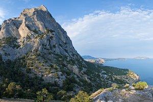 Summer rocky coastline panorama