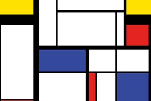 Painting in mondrian style pattern