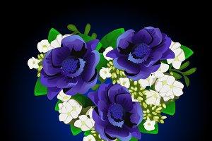 Bouquet of blue flowers