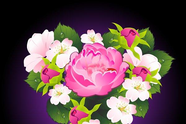 Flowers peony and apple flowers