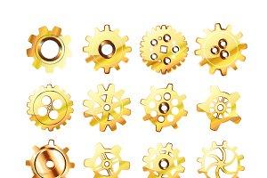 Realistic glossy golden cogwheels
