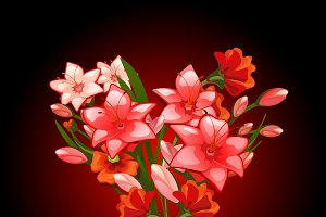 Bouquet of flowers red lilies