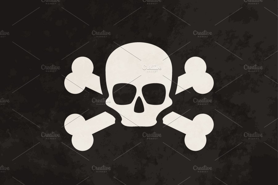 Pirate flag with grunge texture ~ Objects ~ Creative Market