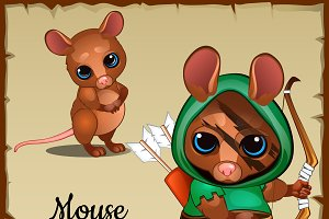 Mouse in a green suit and weapons
