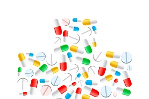 Colourful pills in cross shape