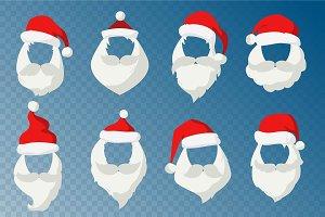 Santa Claus face mask vector set