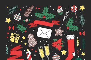 Vector Christmas greeting card icons