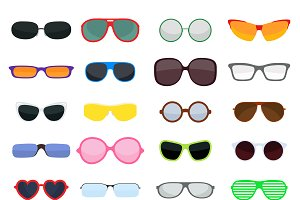 Vector fashion glasses collection
