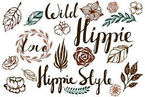 Hippie style design elements feather