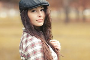 Pretty brunette in a beret