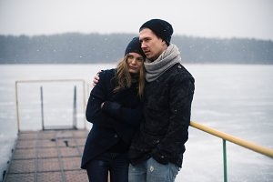 beautiful couple on a winter day