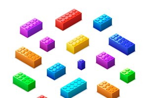Lego bricks in isometric view