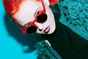 model with red hair fashion