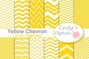Yellow Chevron Digital Paper Pack
