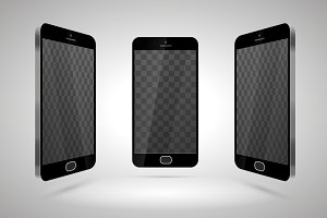 Three realistic glossy smartphones