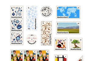 Stamps with illustrations on white