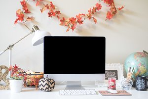 Fall Desktop Computer Mockup Stock