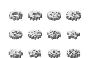 Metal cogwheels in isometric view